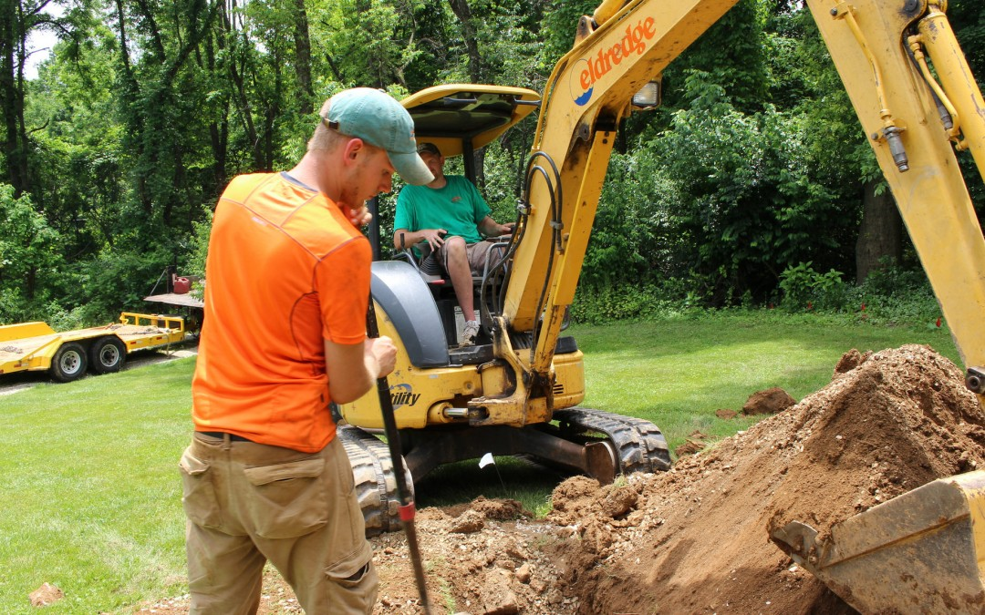 Our service team, Chad and Nate, working on a line replacement in Chester Springs